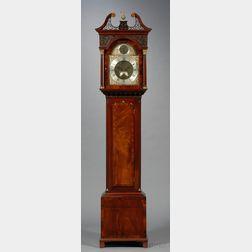 Chippendale Carved Mahogany and Mahogany Veneer Tall Case Clock