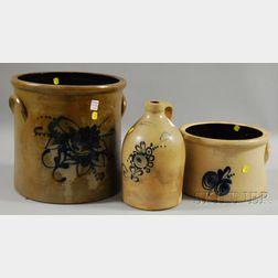 Cobalt-decorated Stoneware Jug and Two Crocks
