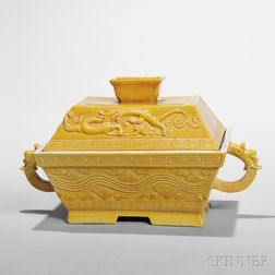 Yellow-glazed Lidded Box