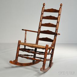 Turned Slat-back Armed Rocking Chair,