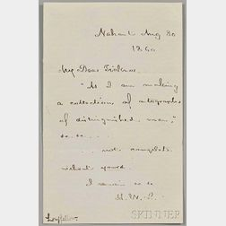 Longfellow, Henry Wadsworth (1807-1882) Autograph Note Initialed, Nahant, 30 August 1860.