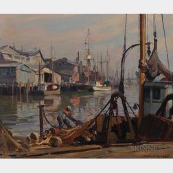 Emile Albert Gruppé (American, 1896-1978)      Repairing the Nets, Gloucester Harbor
