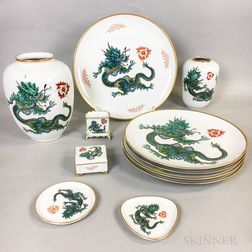 Eleven Pieces of Rosenthal Green Dragon Porcelain Tableware