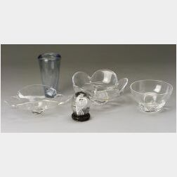 Lot of Five Steuben, Orrefors, and Holmegaard Glass Items