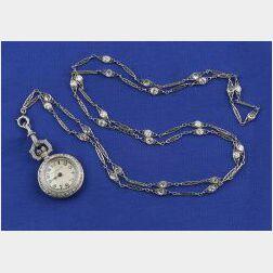 Art Deco Diamond Pendant Watch and Chain