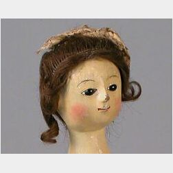 "Early ""Queen Anne"" Wooden Lady Doll"