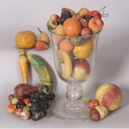 Large Colorless Blown Glass Goblet Containing Stone Fruit