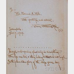 Riley, James Whitcomb (1849-1916), Presentation Copy