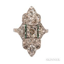 Art Deco Platinum and Diamond Navette Ring
