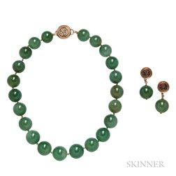 14kt Gold and Green Hardstone Bead Necklace and Earrings, Ming's