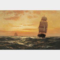 Edward Moran (American, 1829-1901)      Ships at Sunset