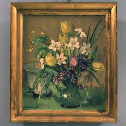 Katherine Eames (American, 20th Century)      Still Life with Spring Flowers.