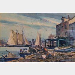 Gordon Hope Grant (American, 1875-1962)      Gloucester Docks.