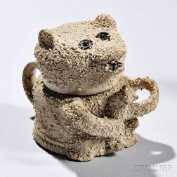 White Salt-glazed Stoneware Bear Storage Pot