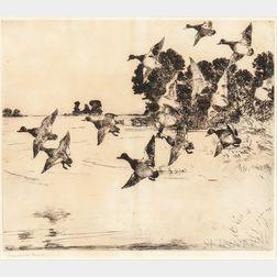 Frank Weston Benson (American, 1862-1951)    Ducks over a Marsh