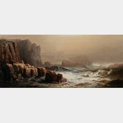 Harrison Bird Brown (American, 1831-1915)      Crashing Surf with Cliffs, Probably Grand Manan