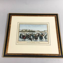 Framed Currier & Ives Central Park, Winter   Lithograph