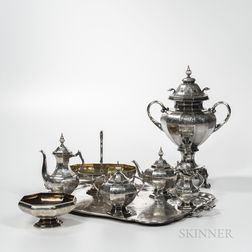 Eight-piece Russian .875 Silver Tea and Coffee Service