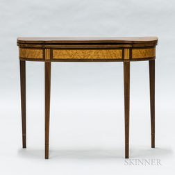 Federal Mahogany and Bird's-eye Veneer Demilune Card Table