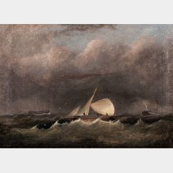 19th Century American School Depiction of Vessels in a Storm