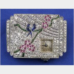 Art Deco Diamond and Gem-set Watch Pin