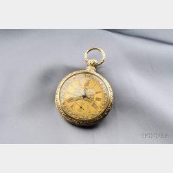 Antique 18kt Tricolor Gold Pair Case Open Face Pocket Watch, Joseph Johnson