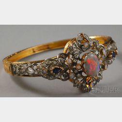 14kt Gold, Opal, Sapphire, and Diamond Bangle Bracelet