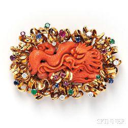18kt Gold, Carved Coral, and Gem-set Brooch