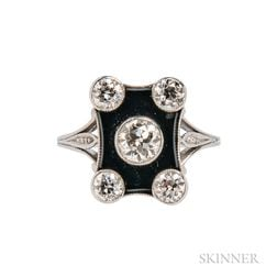 Art Deco Platinum, Diamond, and Onyx Ring