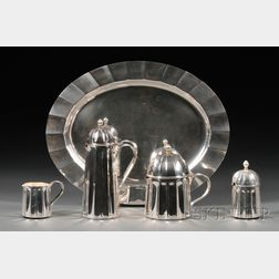 Five Piece Modern Italian Sterling Tea and Coffee Service