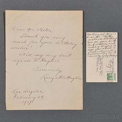 Hughes, Langston (1902-1967) Autograph Letter Signed and Signed Autograph Postcard.