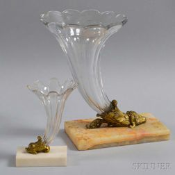 Two Bronze-mounted Colorless Glass Cornucopia Vases