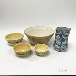 Group of Stoneware, Spongeware, and Yellowware