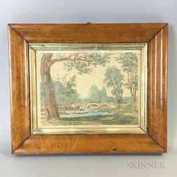 Hand-colored Bridge on the Brandywine, Near Downings Town   Print in a Bird's-eye Maple Frame