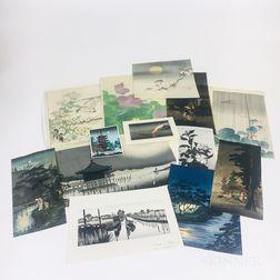 Thirteen Unframed Japanese Woodblock Prints