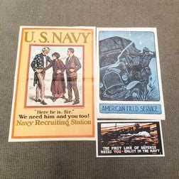 Three American WWI Lithograph Posters