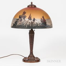 Bronzed Metal and Paint-decorated Glass Table Lamp