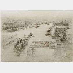 William Walcot (British, 1874-1943)  On the Tyne.