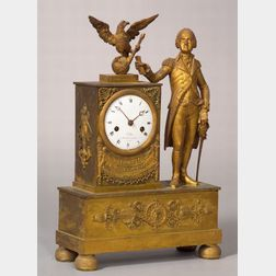A Neoclassical Cast-Brass and Mercury-Gilded Mantel Clock