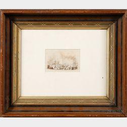 Attributed to David Claypoole Johnston, (Pennsylvania/Massachusetts, 1799-1865)      Harbor Scene.
