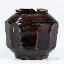 Brown-glazed Polygonal Honey Jar