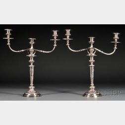 Pair of Silver-plated Three-arm Candelabra