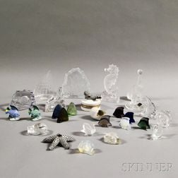 Twenty-seven Glass and Porcelain Nautical-themed Items