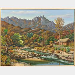 Oil Landscape Painting  Mt. Dobongsan