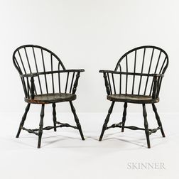 """Pair of Black-painted Metal Bow-back """"Windsor"""" Chairs"""