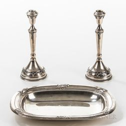 "International Sterling Silver ""Spring Glory"" Tray and a Pair of Sterling Silver Hollow Candlesticks"