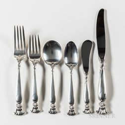 Assembled Wallace Sterling Silver Romance of the Sea Pattern Flatware Service