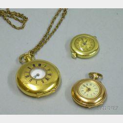 Three Lady's Swiss 14kt Gold Pocket/Pendant Watches