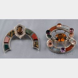Two Victorian Silver, Scottish Agate, and Gem-set Brooches