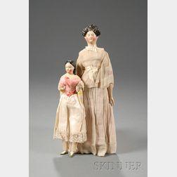 Two Papier-mache Milliner's Model Type Dolls